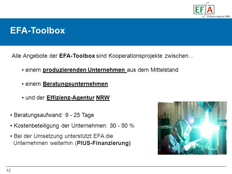 EFA-Toolbox Alle Angebote der EFA-Toolbox sind Kooperationsprojekte zwischen… einem produzierenden Unternehmen aus dem Mittelstand.