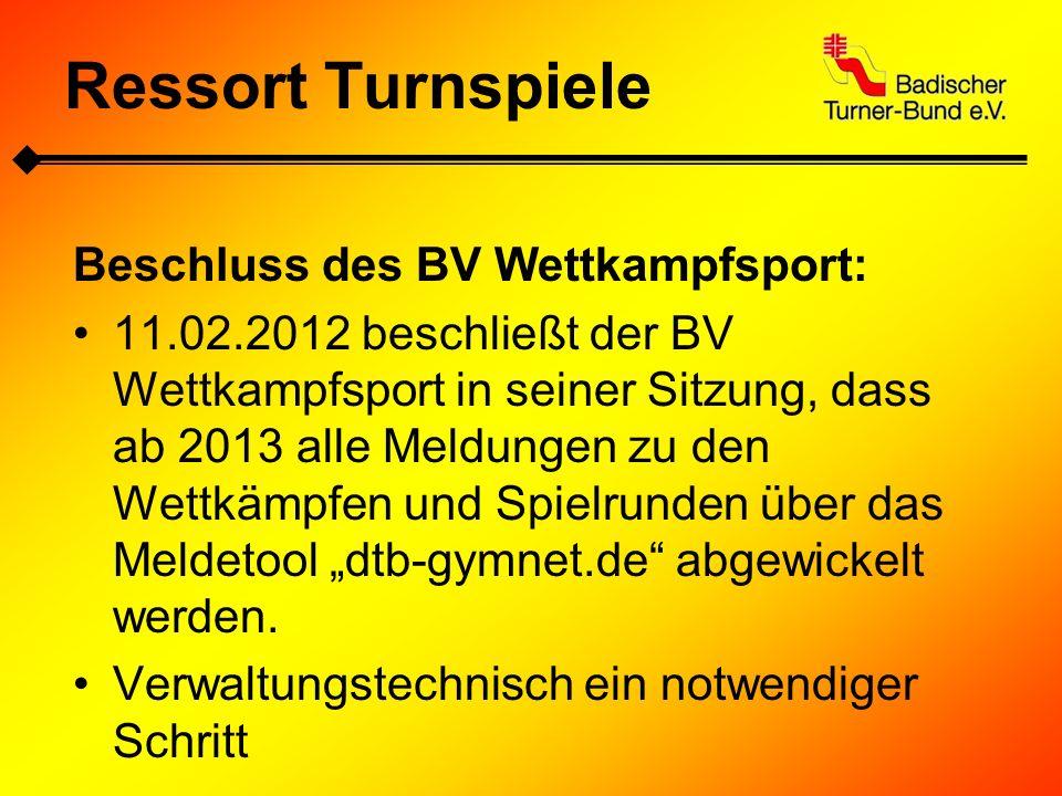Ressort Turnspiele Beschluss des BV Wettkampfsport: