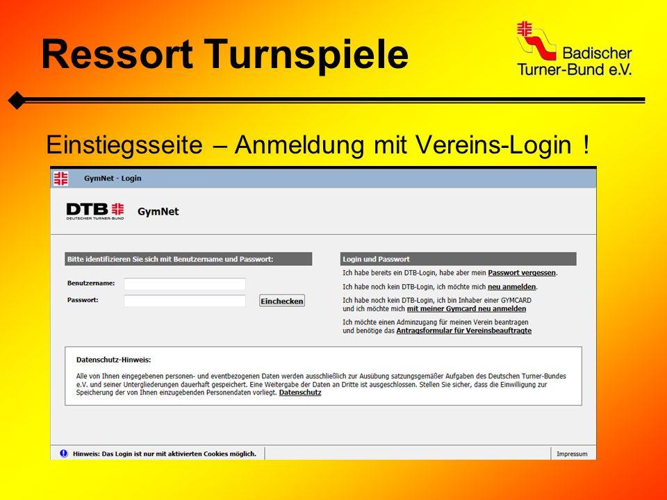 Ressort Turnspiele Einstiegsseite – Anmeldung mit Vereins-Login !