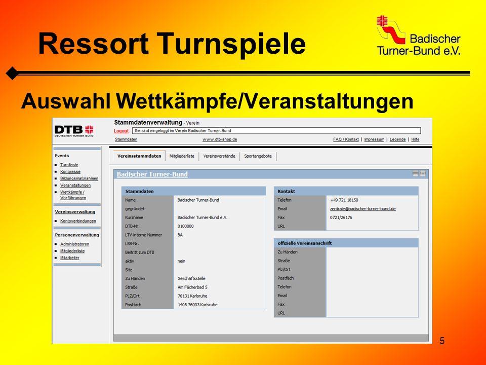 Ressort Turnspiele Auswahl Wettkämpfe/Veranstaltungen
