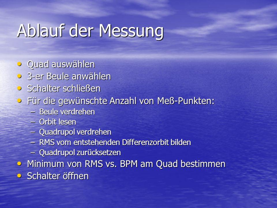 Ablauf der Messung Quad auswählen 3-er Beule anwählen