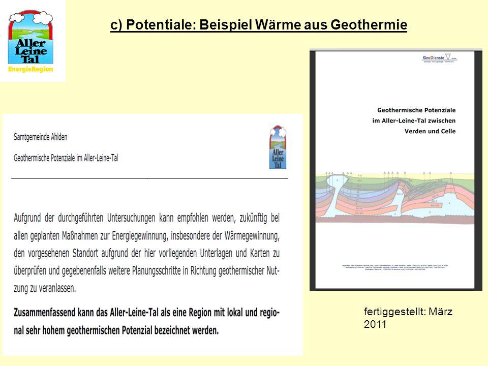 c) Potentiale: Beispiel Wärme aus Geothermie