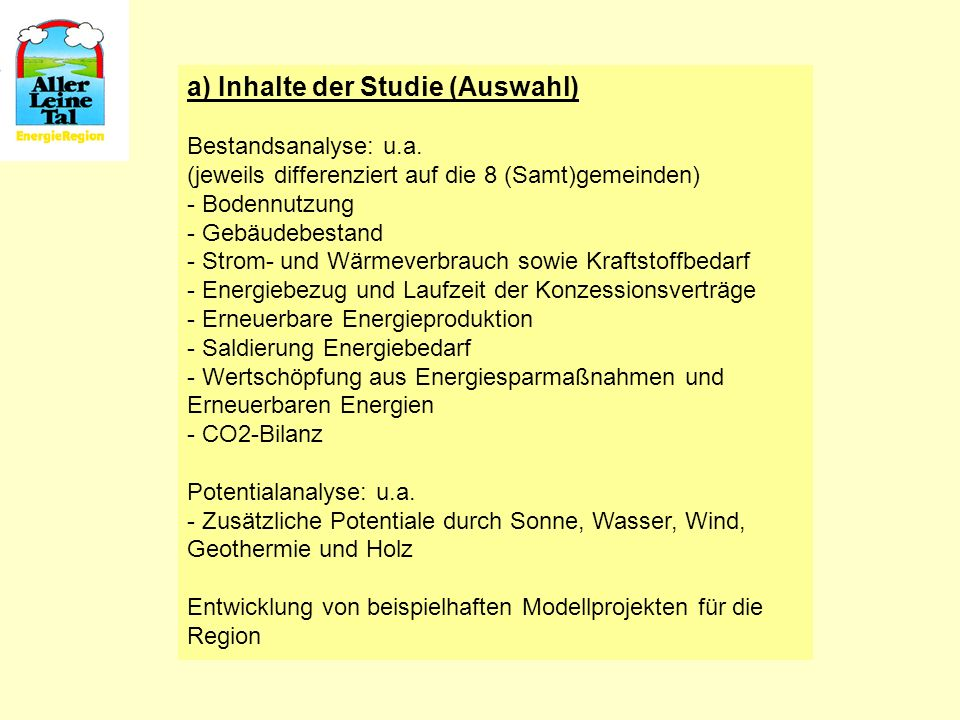 a) Inhalte der Studie (Auswahl)