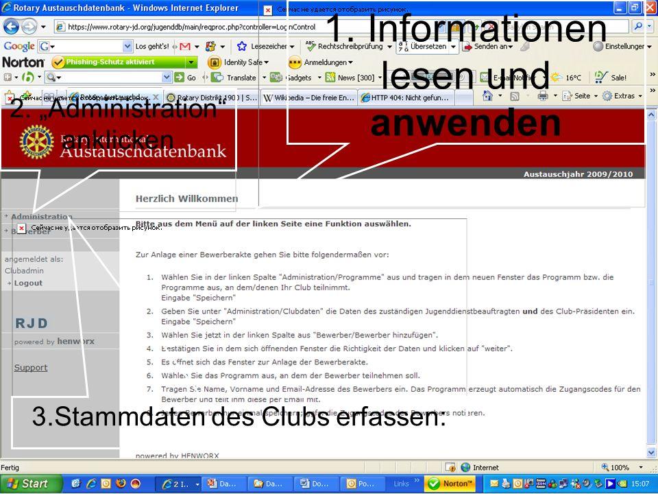 1. Informationen lesen und anwenden