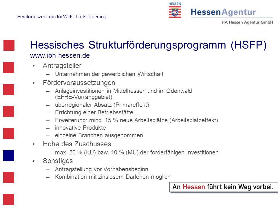 Hessisches Strukturförderungsprogramm (HSFP) www.ibh-hessen.de