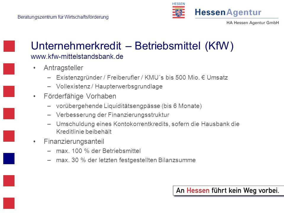 Unternehmerkredit – Betriebsmittel (KfW) www.kfw-mittelstandsbank.de