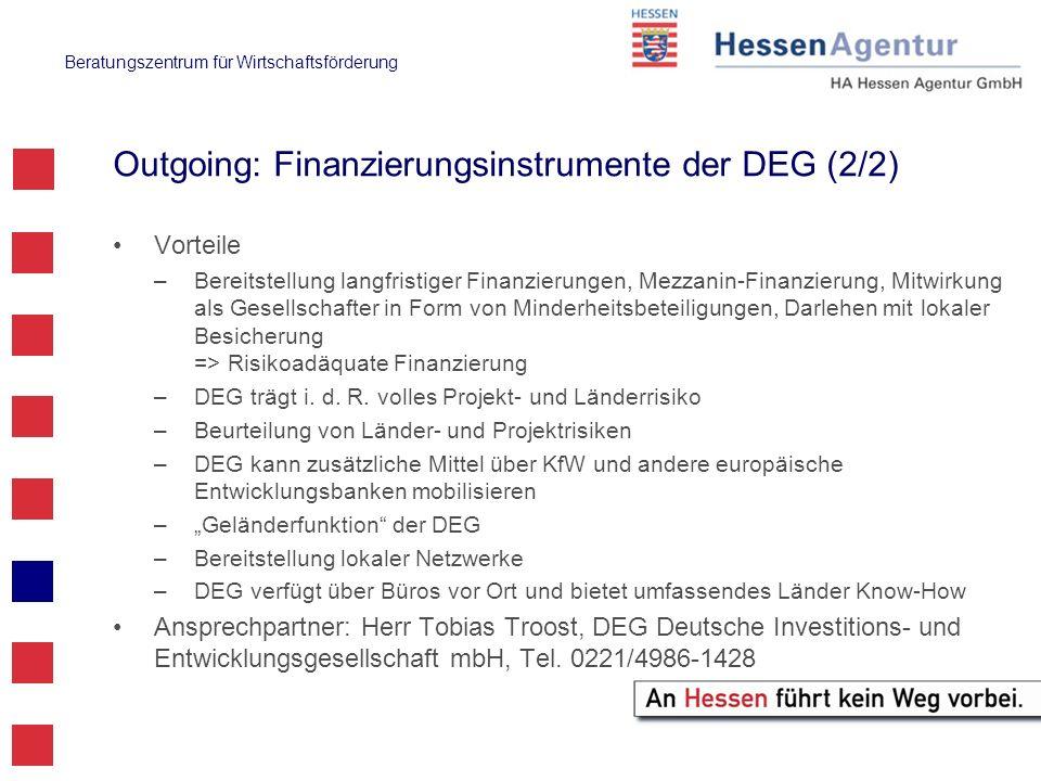 Outgoing: Finanzierungsinstrumente der DEG (2/2)