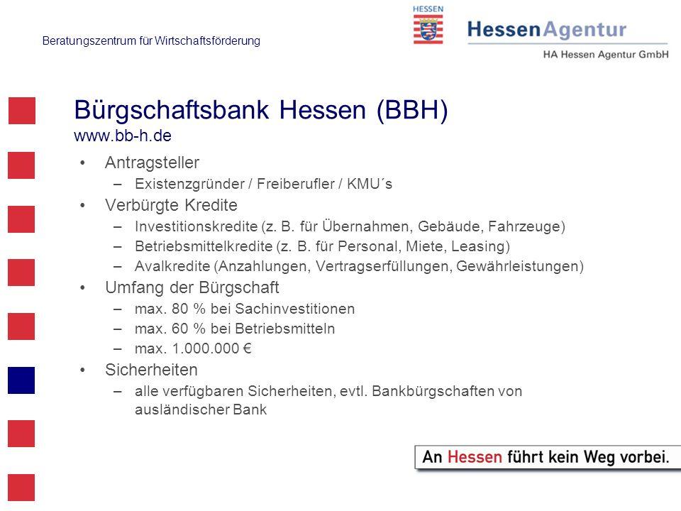 Bürgschaftsbank Hessen (BBH) www.bb-h.de