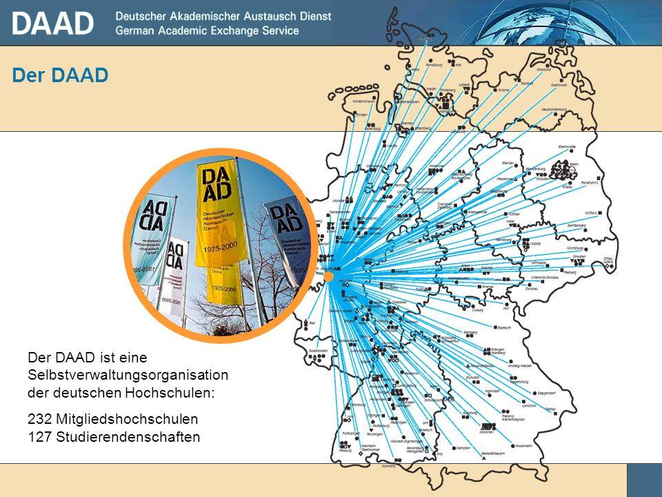 Der DAAD Der DAAD ist eine Selbstverwaltungsorganisation der deutschen Hochschulen: 232 Mitgliedshochschulen 127 Studierendenschaften.