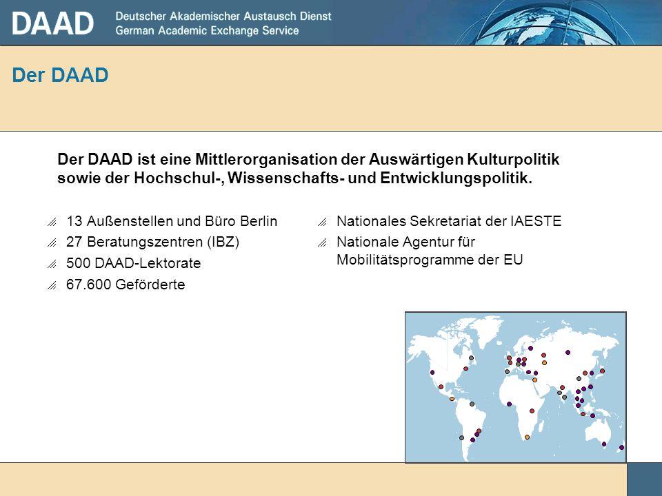 Der DAADDer DAAD ist eine Mittlerorganisation der Auswärtigen Kulturpolitik sowie der Hochschul-, Wissenschafts- und Entwicklungspolitik.