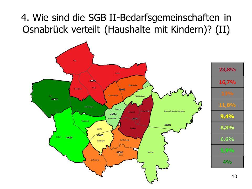 4. Wie sind die SGB II-Bedarfsgemeinschaften in Osnabrück verteilt (Haushalte mit Kindern) (II)
