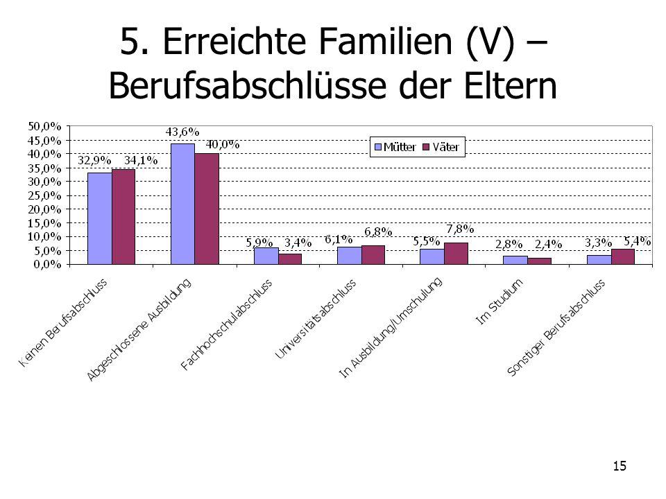 5. Erreichte Familien (V) – Berufsabschlüsse der Eltern