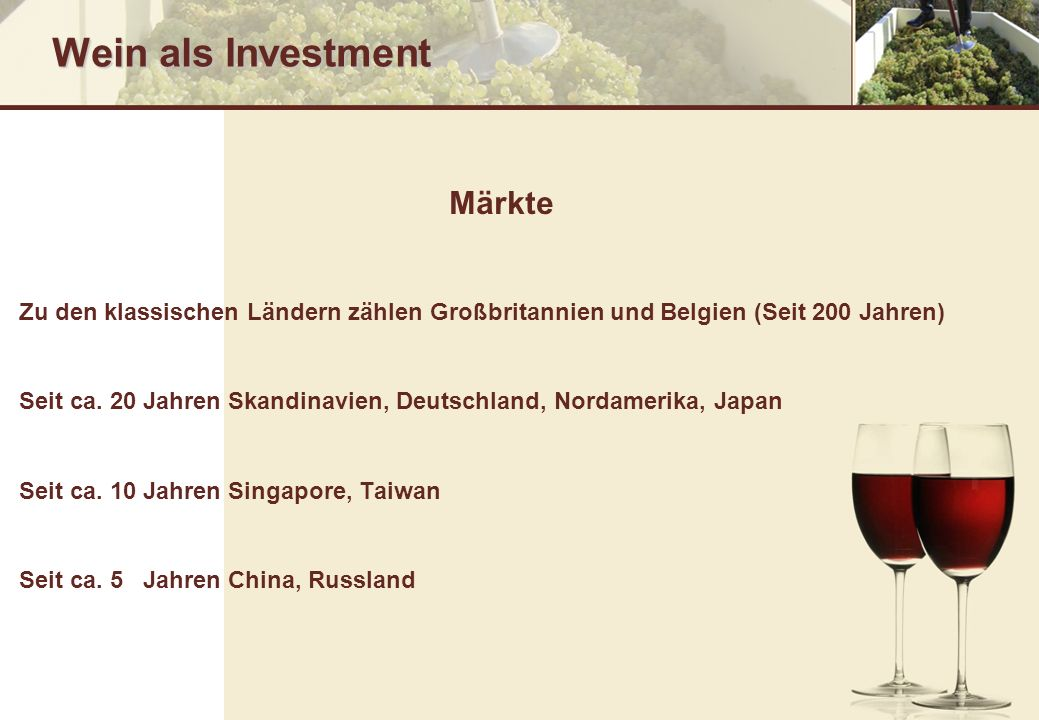 Wein als Investment Märkte
