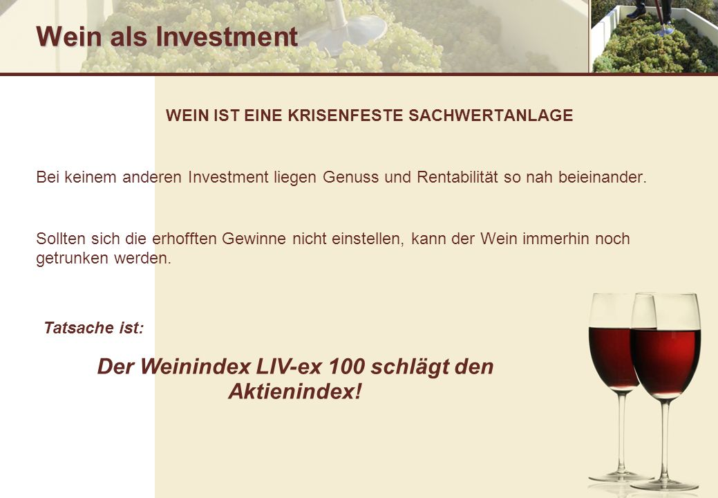 Wein als Investment Der Weinindex LIV-ex 100 schlägt den Aktienindex!