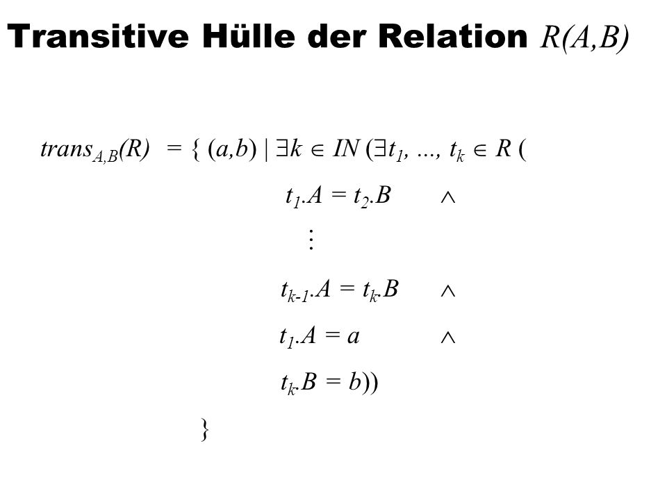 Transitive Hülle der Relation R(A,B)