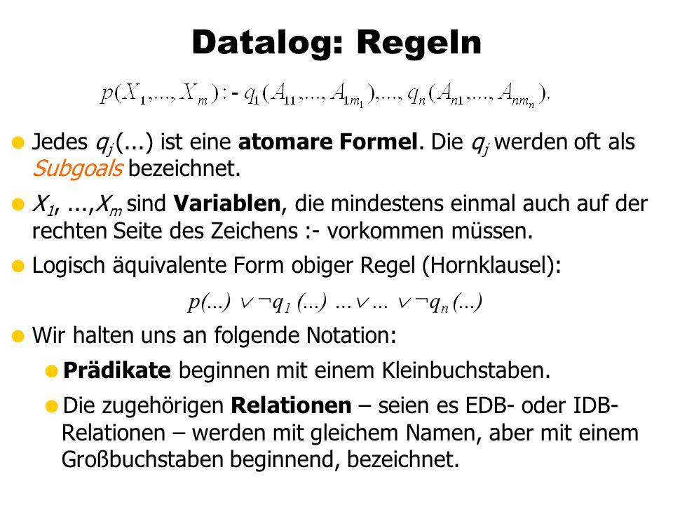 Datalog: RegelnJedes qj (...) ist eine atomare Formel. Die qj werden oft als Subgoals bezeichnet.