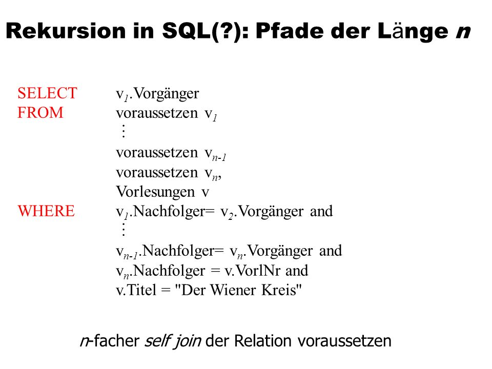 Rekursion in SQL( ): Pfade der Länge n