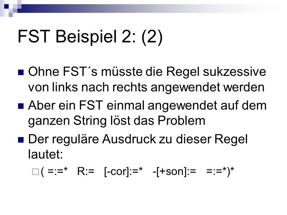 FST Beispiel 2: (2) Ohne FST´s müsste die Regel sukzessive von links nach rechts angewendet werden.