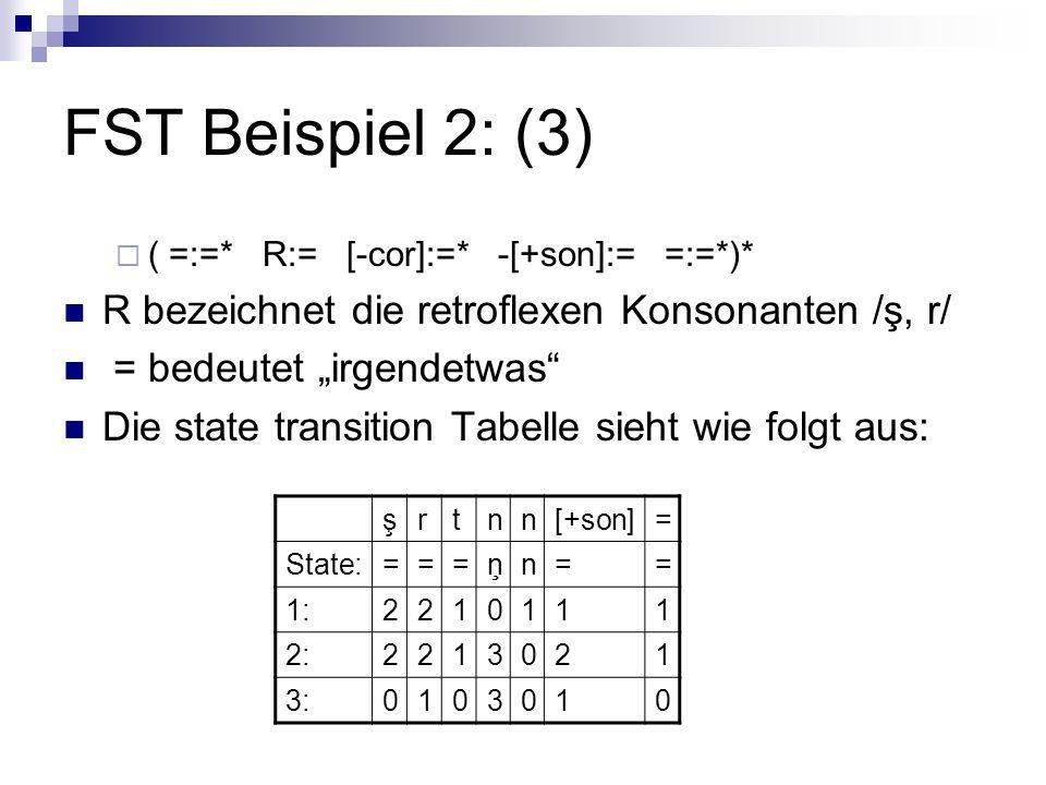 FST Beispiel 2: (3) R bezeichnet die retroflexen Konsonanten /ş, r/