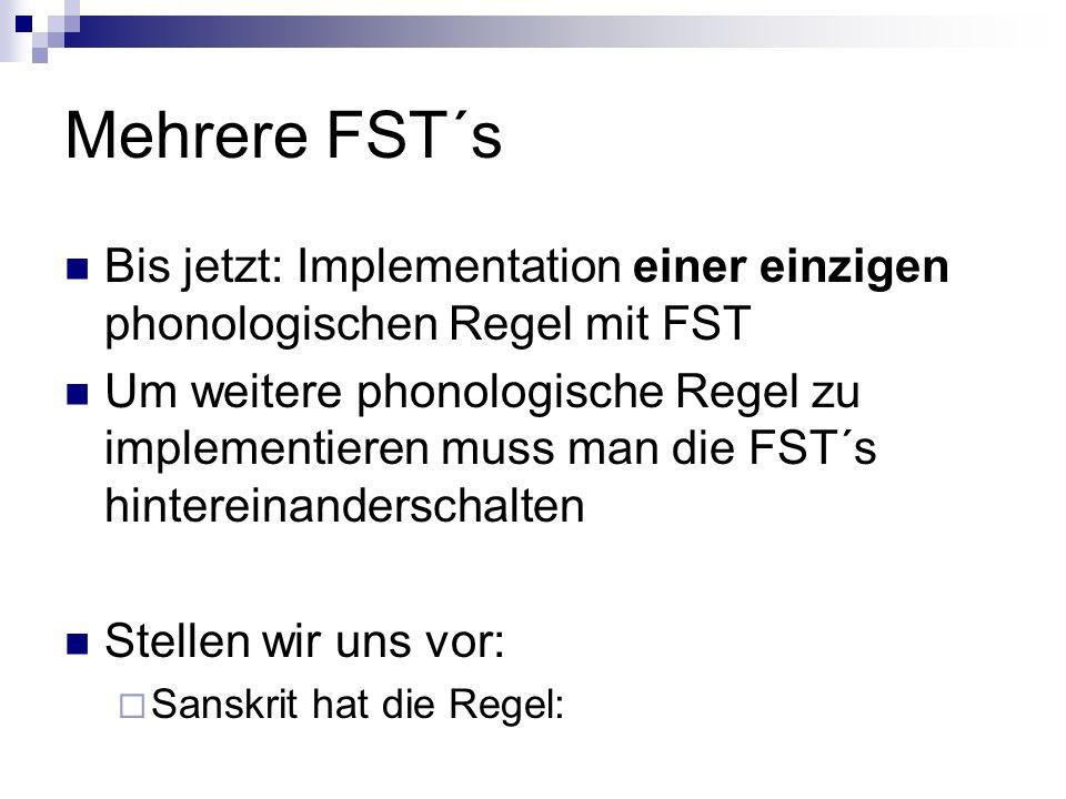 Mehrere FST´s Bis jetzt: Implementation einer einzigen phonologischen Regel mit FST.