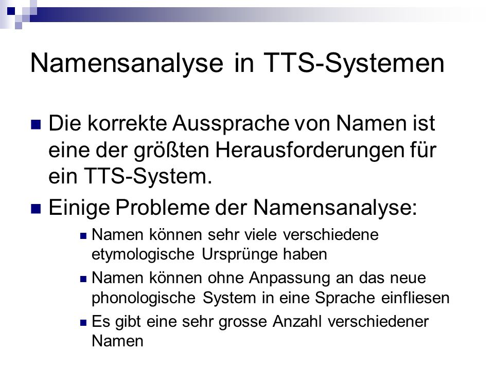 Namensanalyse in TTS-Systemen