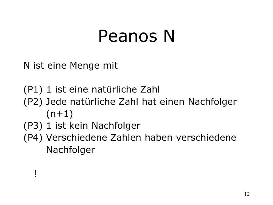 Peanos N N ist eine Menge mit (P1) 1 ist eine natürliche Zahl
