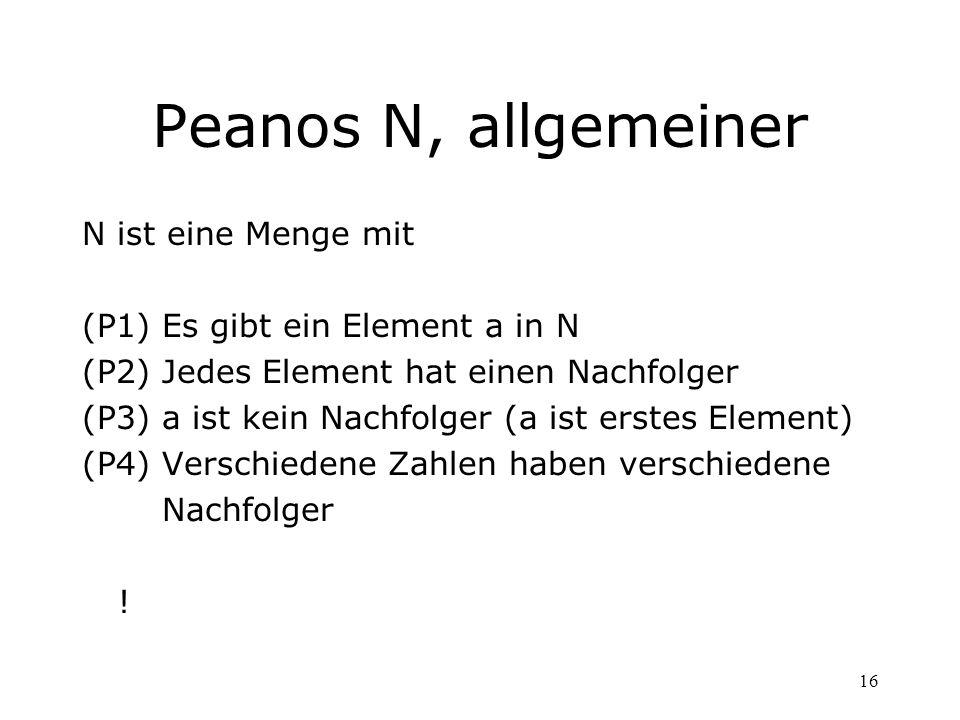 Peanos N, allgemeiner N ist eine Menge mit