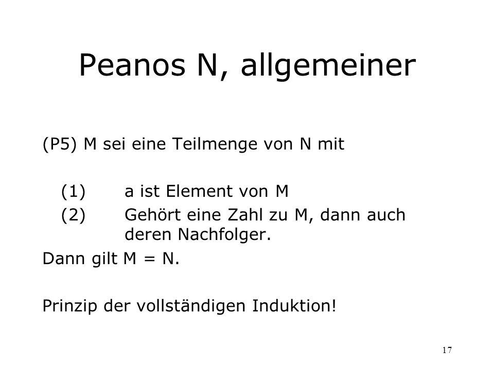 Peanos N, allgemeiner (P5) M sei eine Teilmenge von N mit