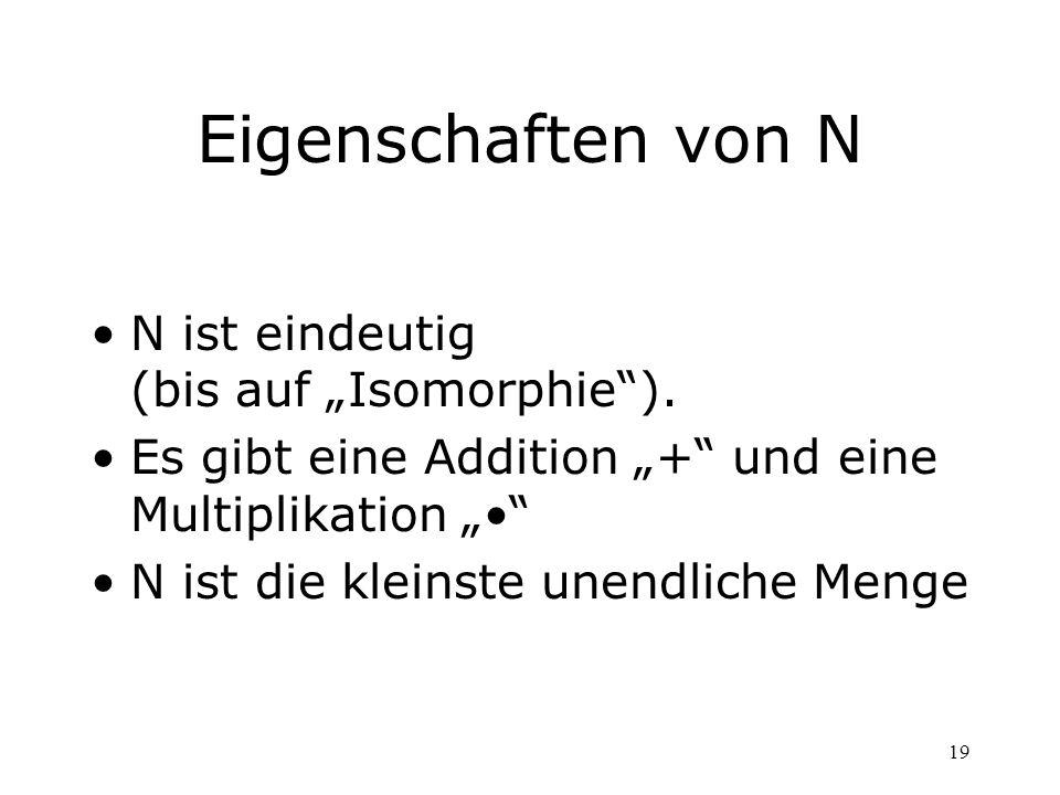 """Eigenschaften von N N ist eindeutig (bis auf """"Isomorphie )."""