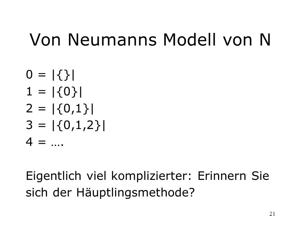 Von Neumanns Modell von N