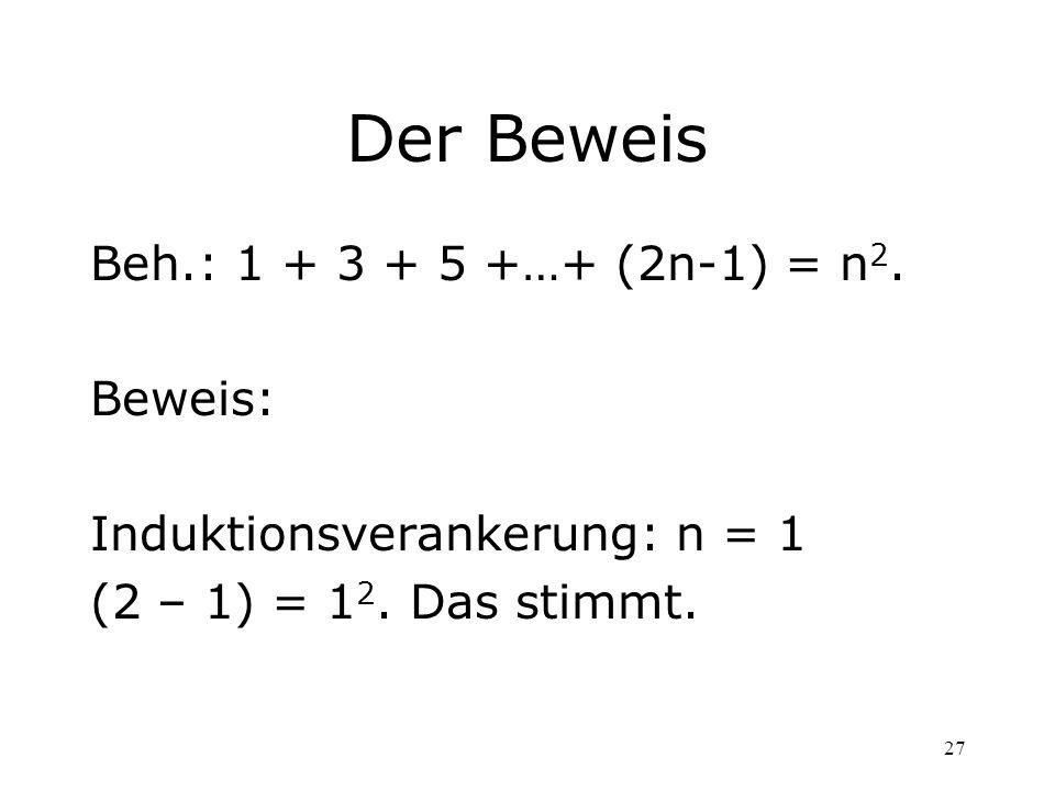 Der Beweis Beh.: 1 + 3 + 5 +…+ (2n-1) = n2. Beweis: