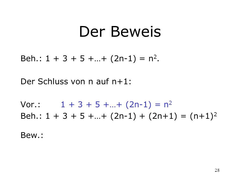 Der Beweis Beh.: 1 + 3 + 5 +…+ (2n-1) = n2. Der Schluss von n auf n+1: