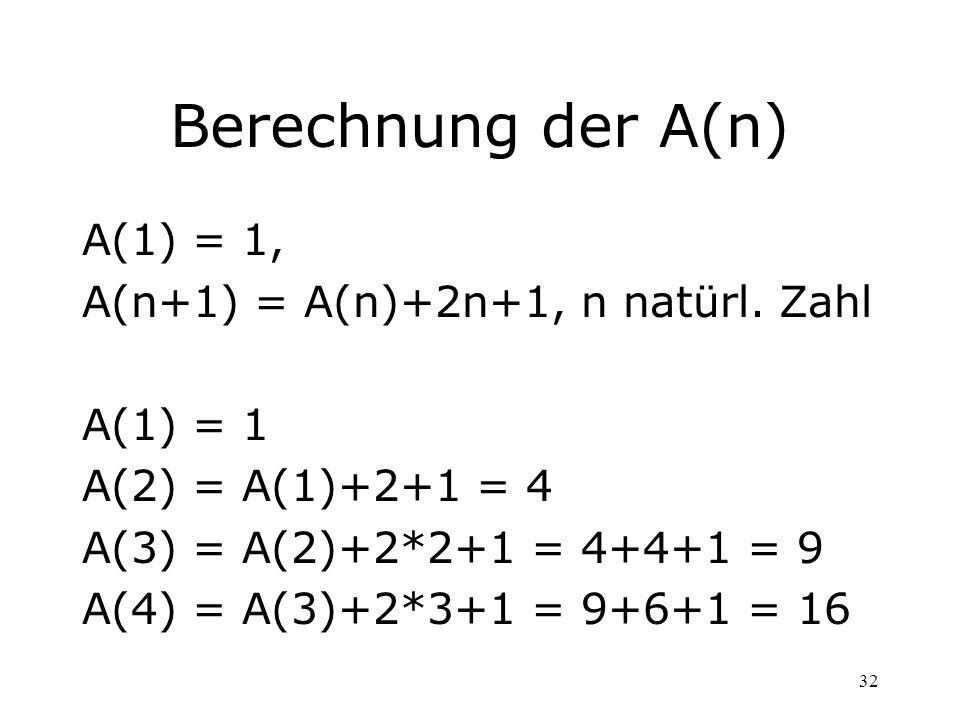 Berechnung der A(n) A(1) = 1, A(n+1) = A(n)+2n+1, n natürl. Zahl