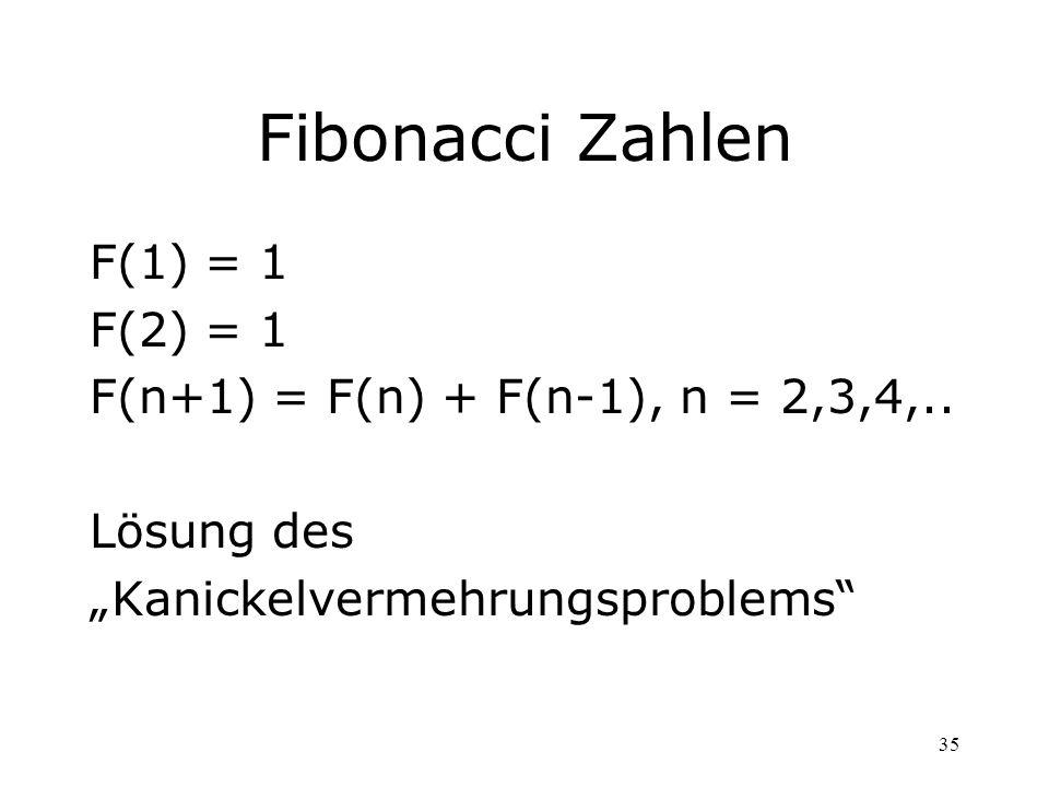 Fibonacci Zahlen F(1) = 1 F(2) = 1