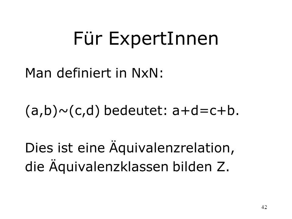 Für ExpertInnen Man definiert in NxN: (a,b)~(c,d) bedeutet: a+d=c+b.