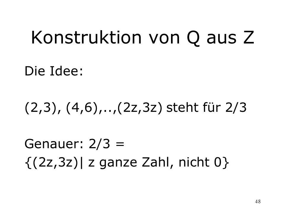 Konstruktion von Q aus Z