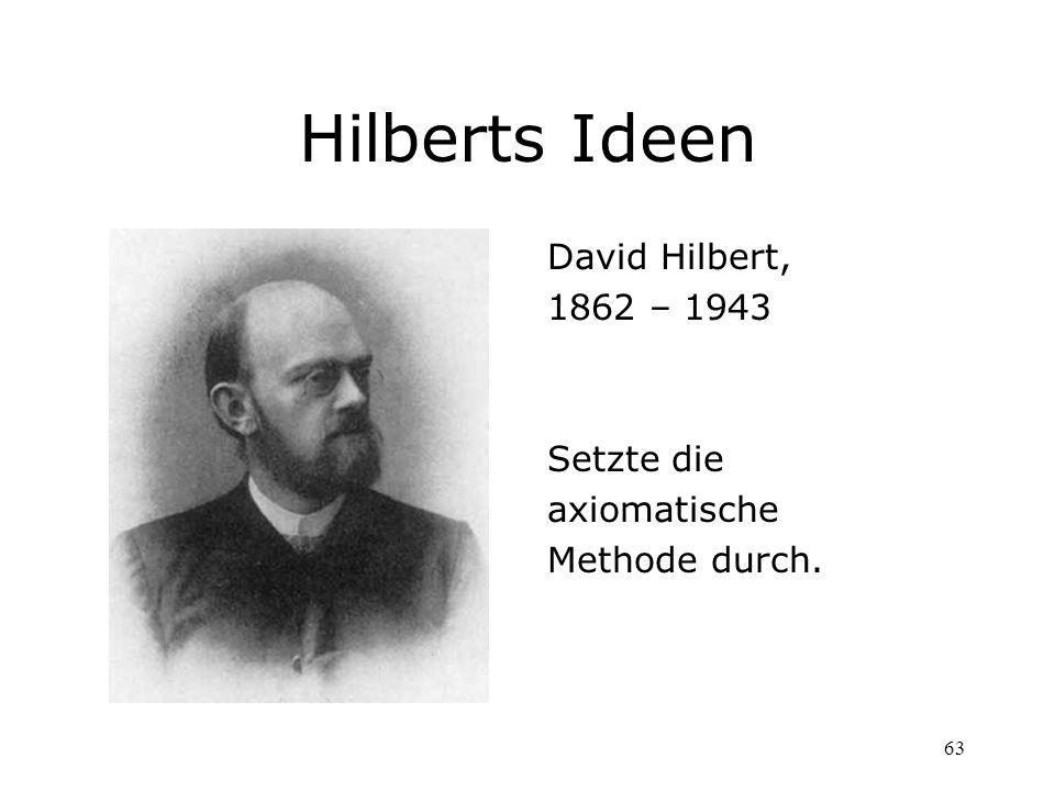 Hilberts Ideen David Hilbert, 1862 – 1943 Setzte die axiomatische