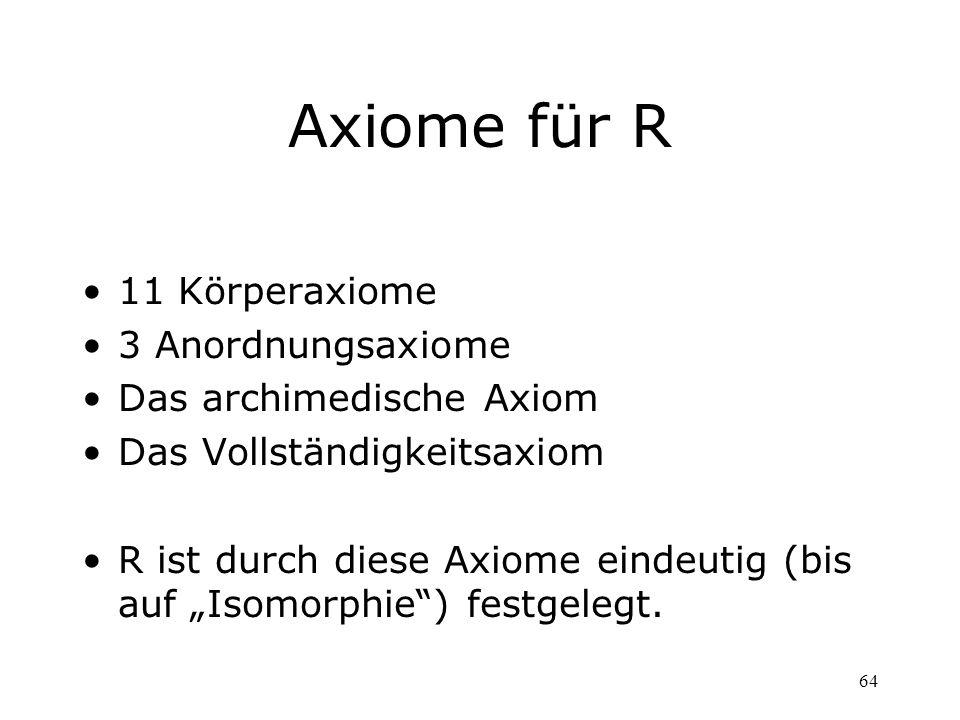 Axiome für R 11 Körperaxiome 3 Anordnungsaxiome