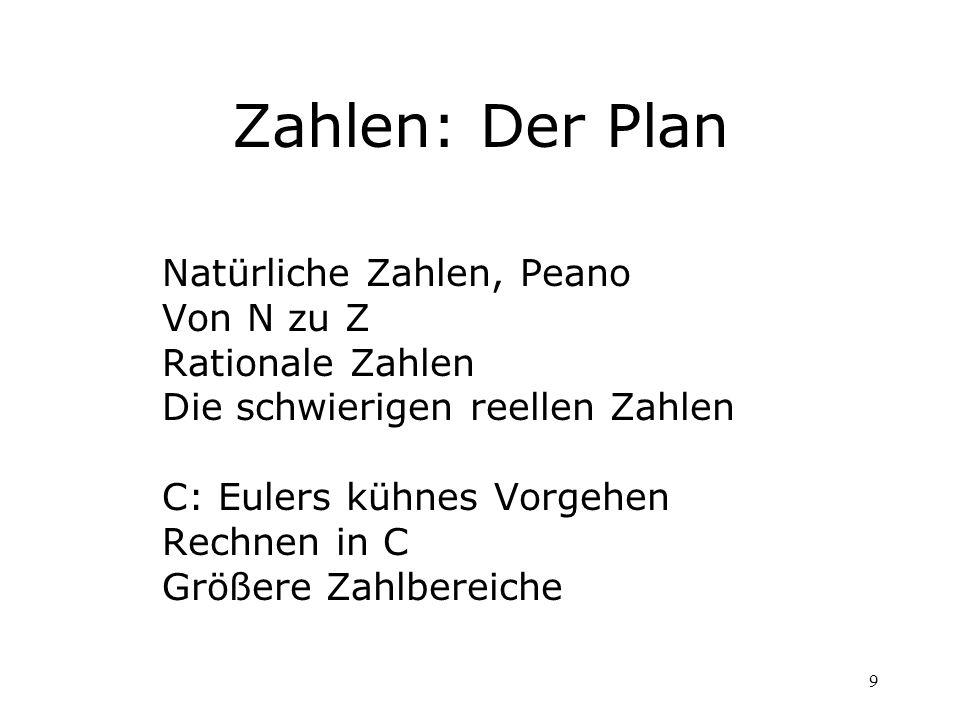 Zahlen: Der Plan Natürliche Zahlen, Peano Von N zu Z Rationale Zahlen