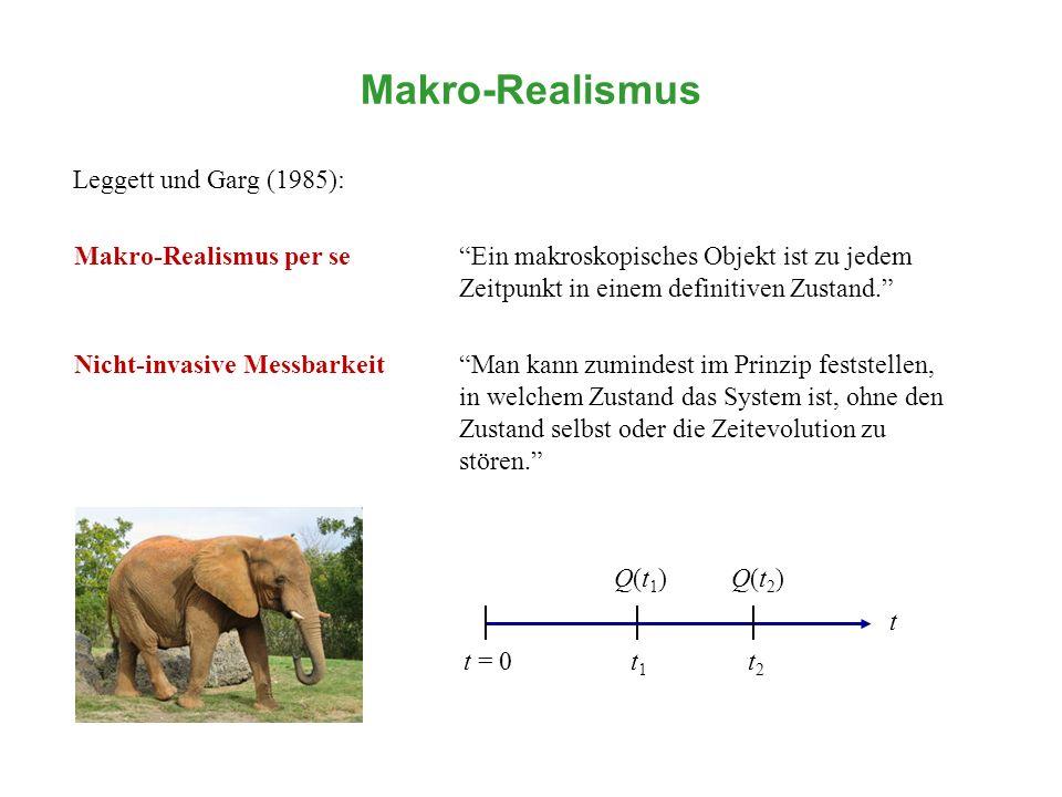 Makro-Realismus Leggett und Garg (1985):