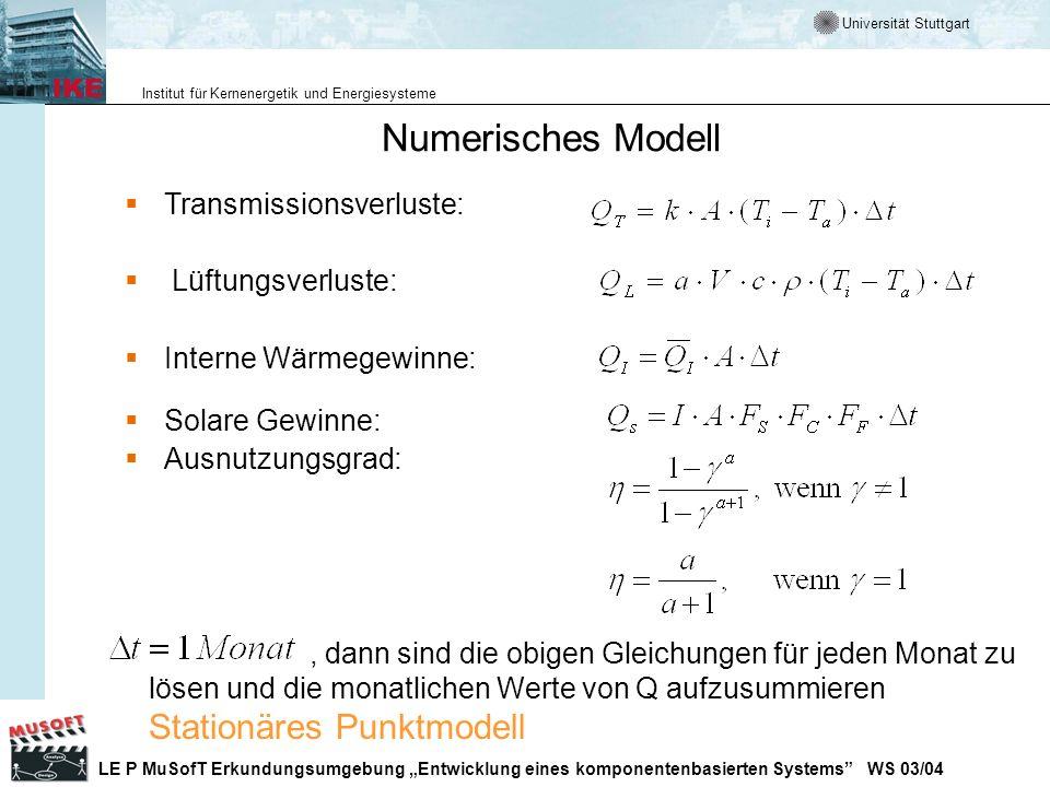 Numerisches Modell Transmissionsverluste: Lüftungsverluste: