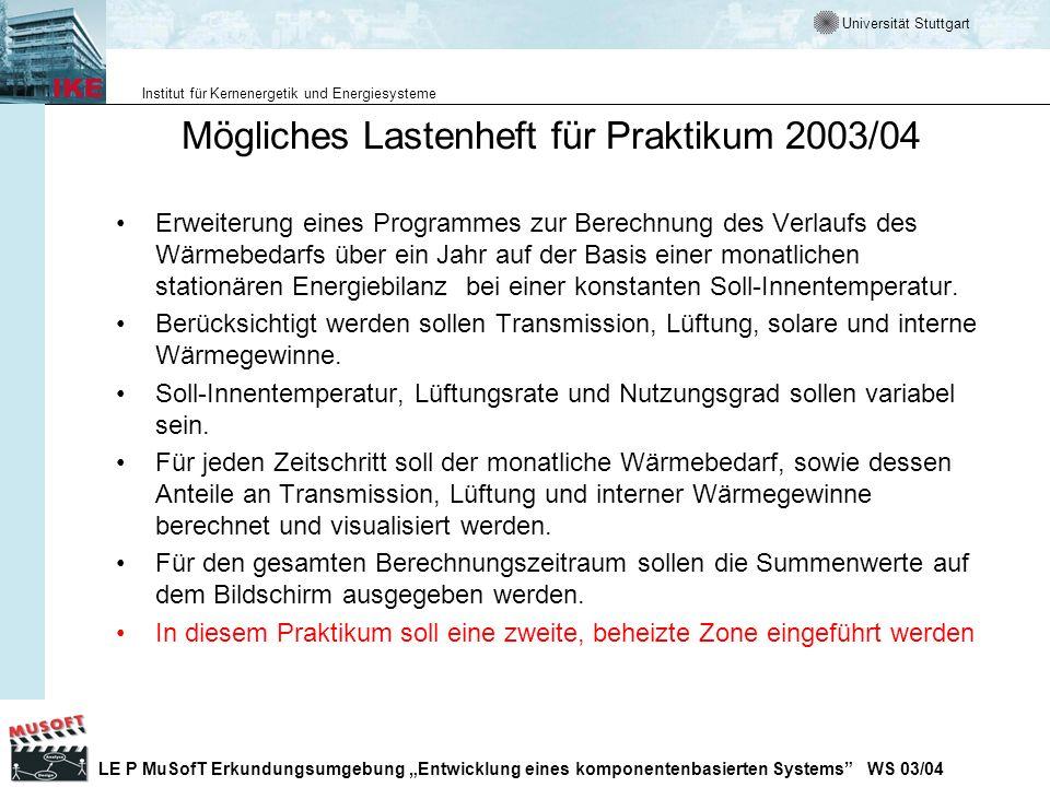 Mögliches Lastenheft für Praktikum 2003/04