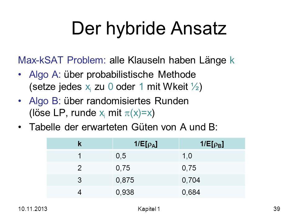 Der hybride Ansatz Max-kSAT Problem: alle Klauseln haben Länge k