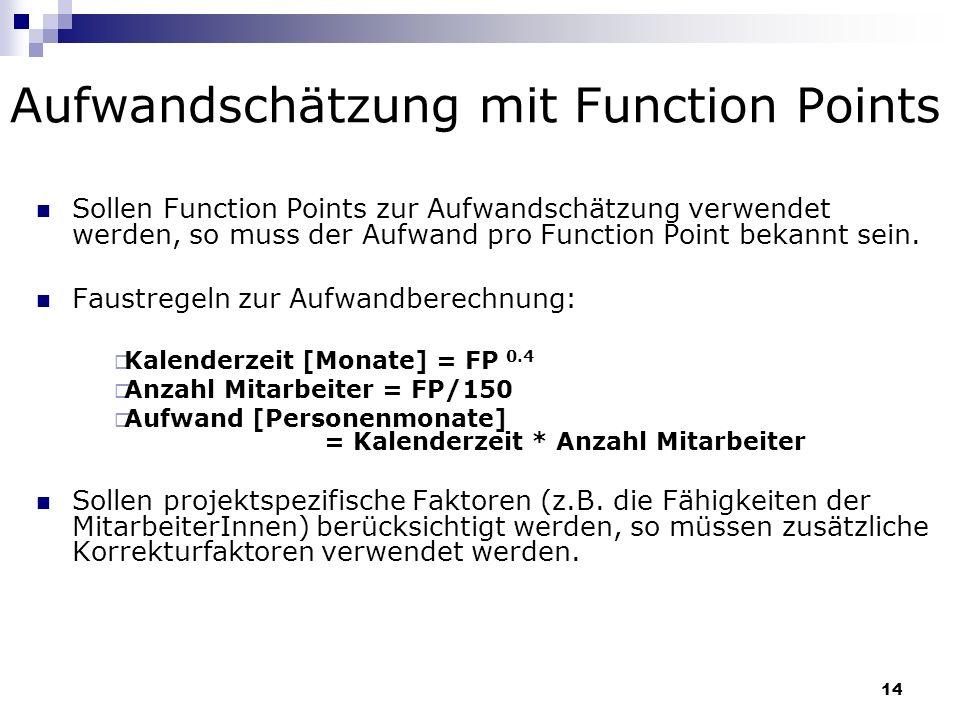 Aufwandschätzung mit Function Points