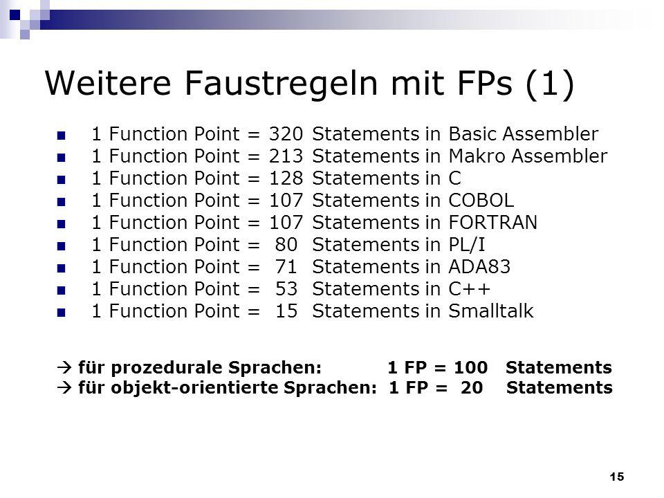 Weitere Faustregeln mit FPs (1)