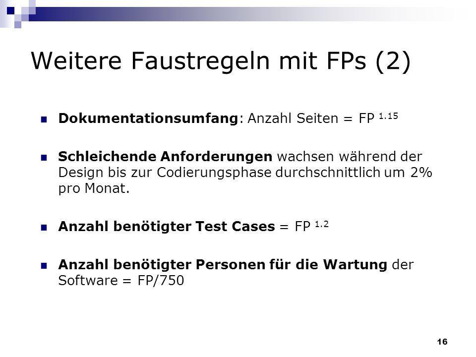 Weitere Faustregeln mit FPs (2)