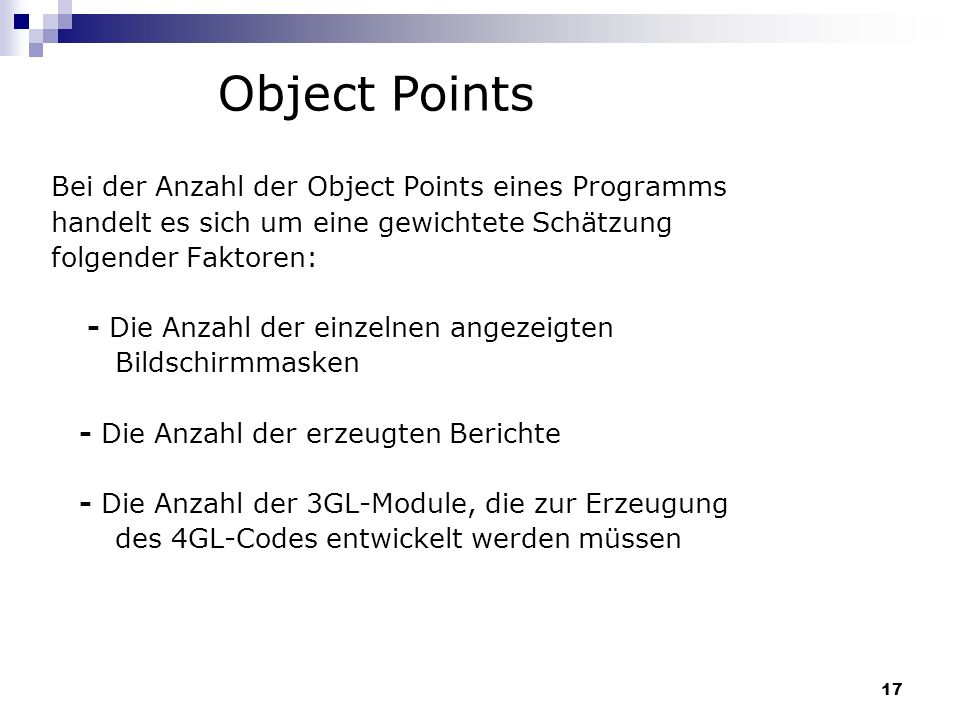 Object Points Bei der Anzahl der Object Points eines Programms
