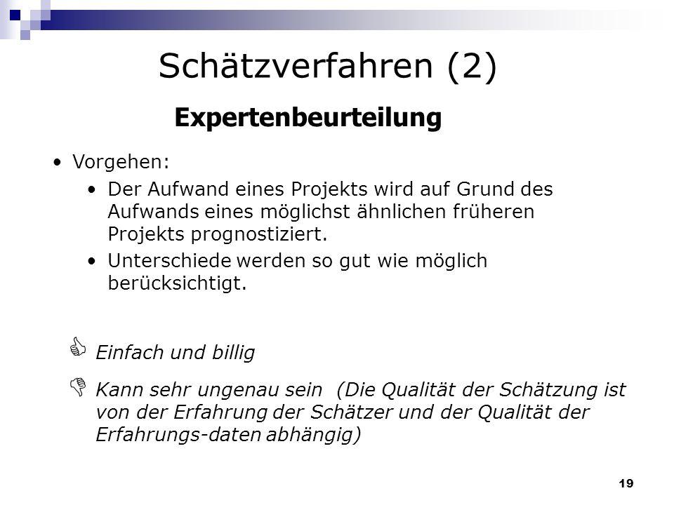 Schätzverfahren (2) Expertenbeurteilung Vorgehen: