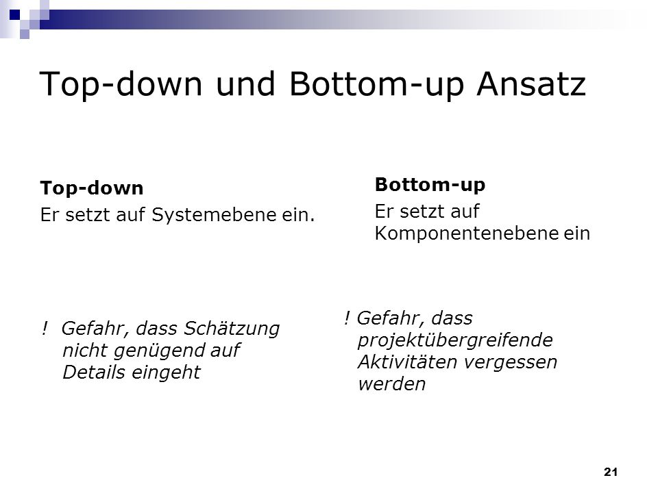 Top-down und Bottom-up Ansatz