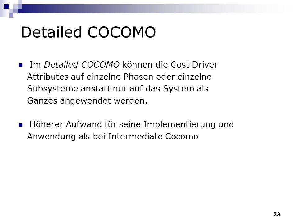 Detailed COCOMO Im Detailed COCOMO können die Cost Driver